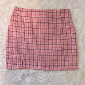 3/$12 SHEIN Pink plaid Slit Mini skirt sz S